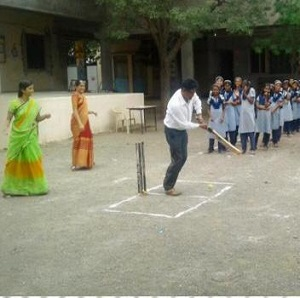 Teachers vs students – a Cricket match.